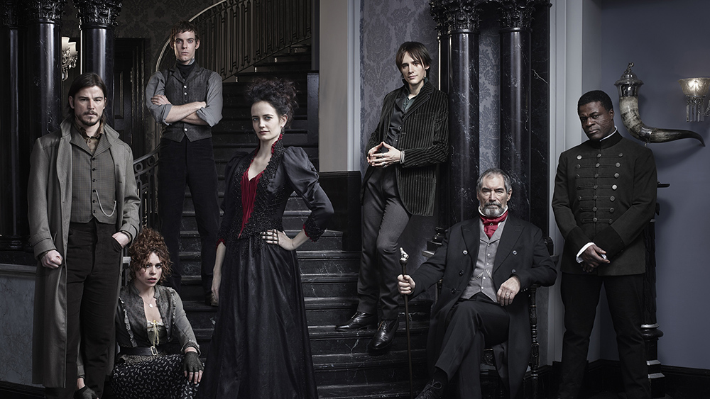 PENNY DREADFUL – Season 1 – Image ID: dorian-stairs-pr-v6-crop-a – Pictured (L-R): Josh Hartnett as Ethan Chandler, Billie Piper as Brona Croft, Harry Treadaway as Dr. Victor Frankenstein, Eva Green as Vanessa Ives, Reeve Carney as Dorian Gray, Timothy Dalton as Sir Malcolm and Danny Sapani as Sembeme – Photo Credit: © 2013 Jim Fiscus/Showtime.