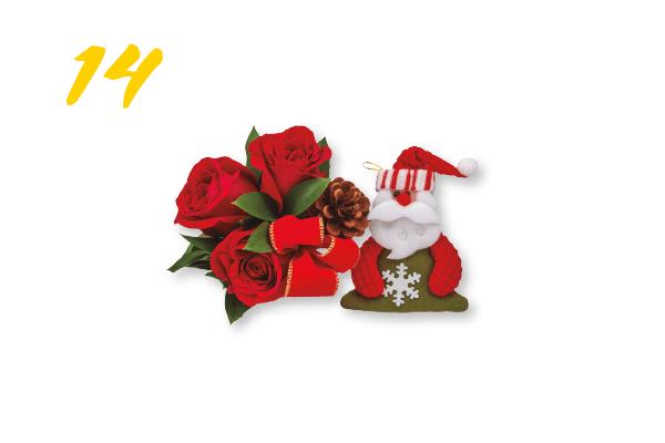 14. Buquê natalino de três rosas colombianas e Papai Noel (R$ 49) Flores Vip | floresvip.com.br