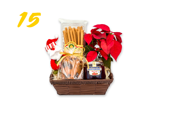 15. Cesta natalina: bico-de-papagaio, geleia, palito aperitivo de parmesão, minipanetone e Papai Noel (R$ 108,90) Flores Vip | floresvip.com.br